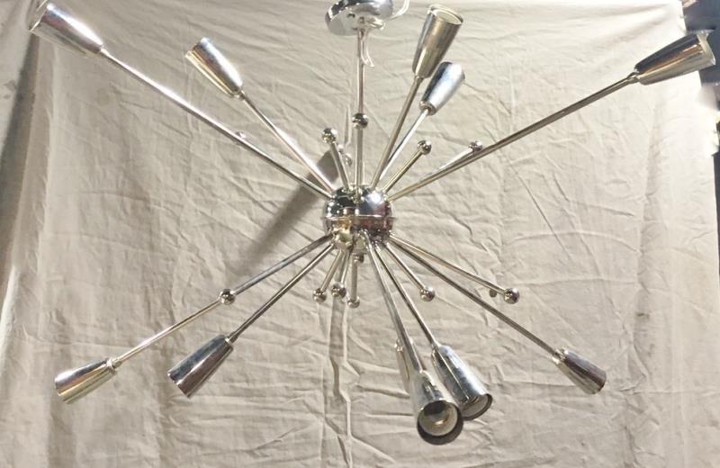Large Chrome Sputnik Style Chandelier.