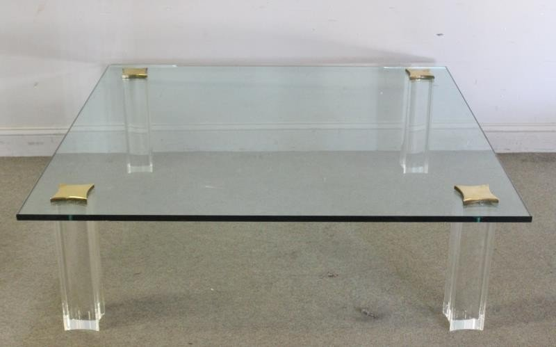 Quality Midcentury Lucite and Brass Coffee Table.