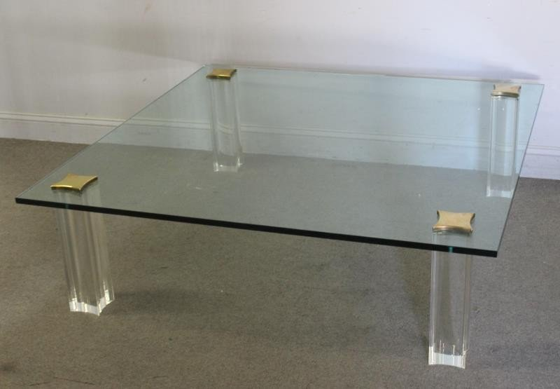 Quality Midcentury Lucite and Brass Coffee Table. - 2