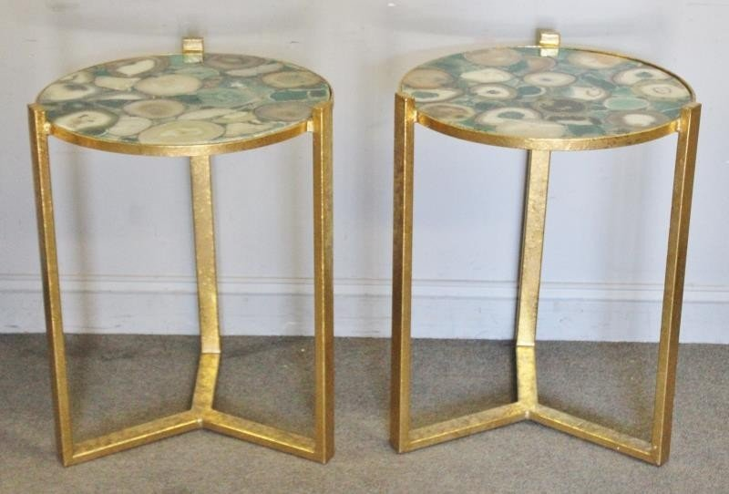 Modern Pair of Green Agate Top Side Tables.