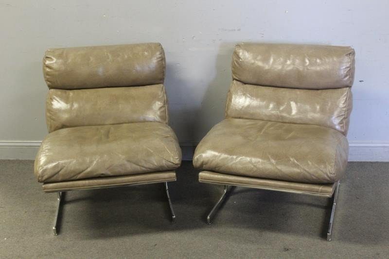 Pair of Kipp Stewart Leather Lounge Chairs.