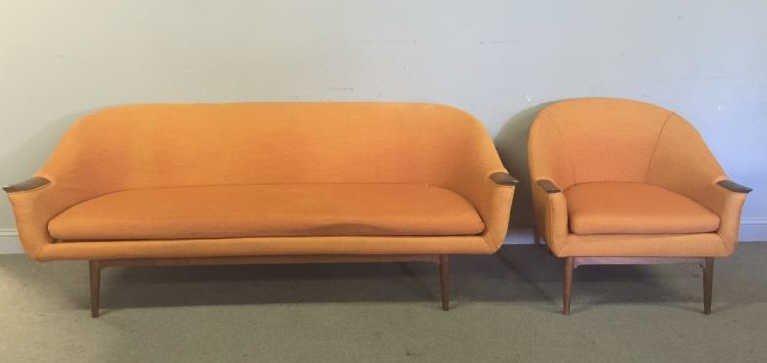 Midcentury Danish ? Sofa and Lounge Chair Set.