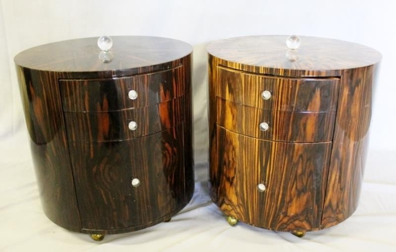 Pair of Lacquered Deco Style Rosewood Drum Tables.