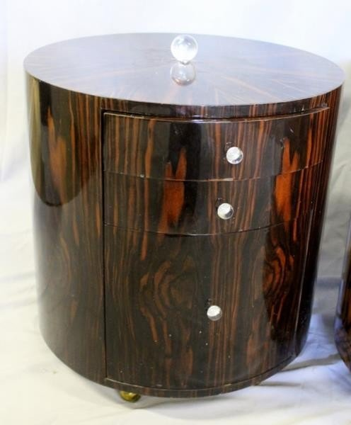 Pair of Lacquered Deco Style Rosewood Drum Tables. - 2