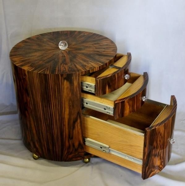 Pair of Lacquered Deco Style Rosewood Drum Tables. - 3