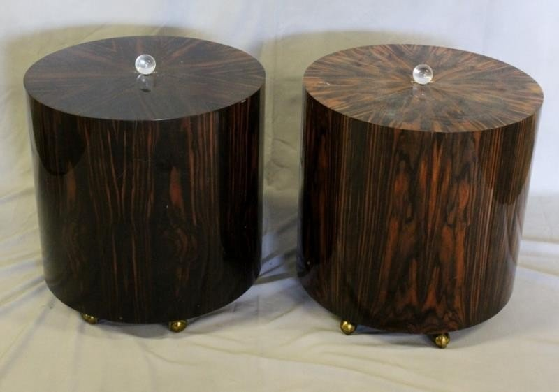 Pair of Lacquered Deco Style Rosewood Drum Tables. - 4