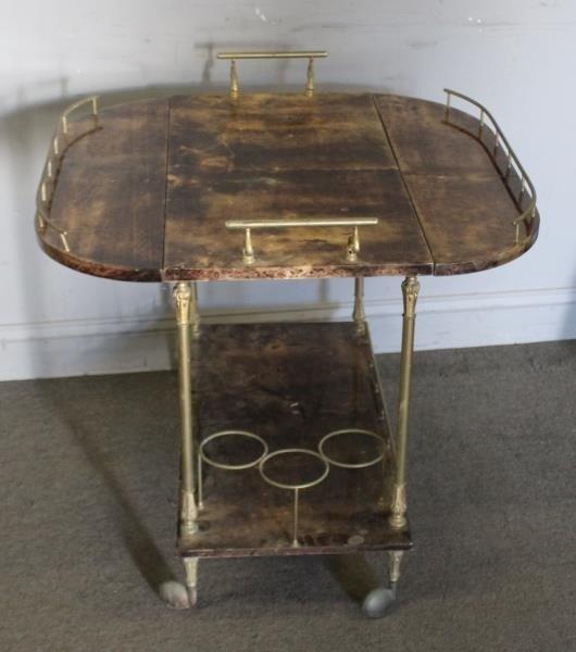 Midcentury Aldo Tura Goatskin Lacquered Bar Cart. - 2