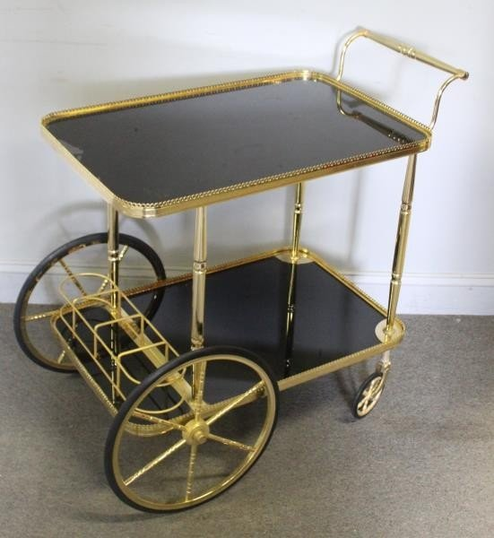Decorative Brass and Black Glass Bar Cart.