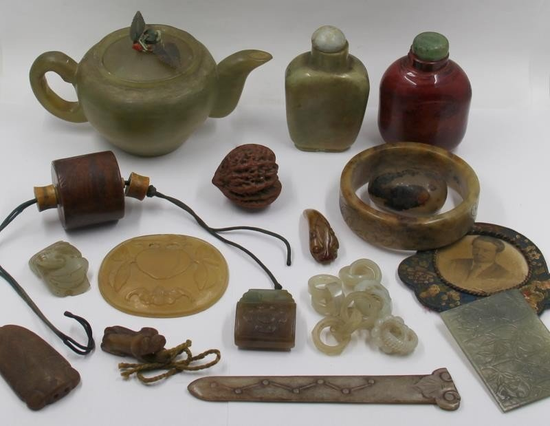 Assorted Grouping of Asian Hardstone Items.