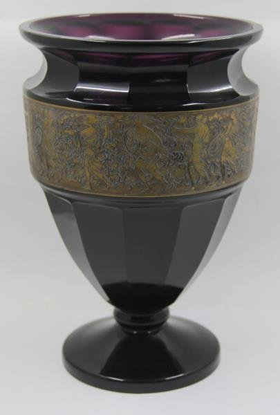 Purple Moser Vase with Gilt Decorated Panel.