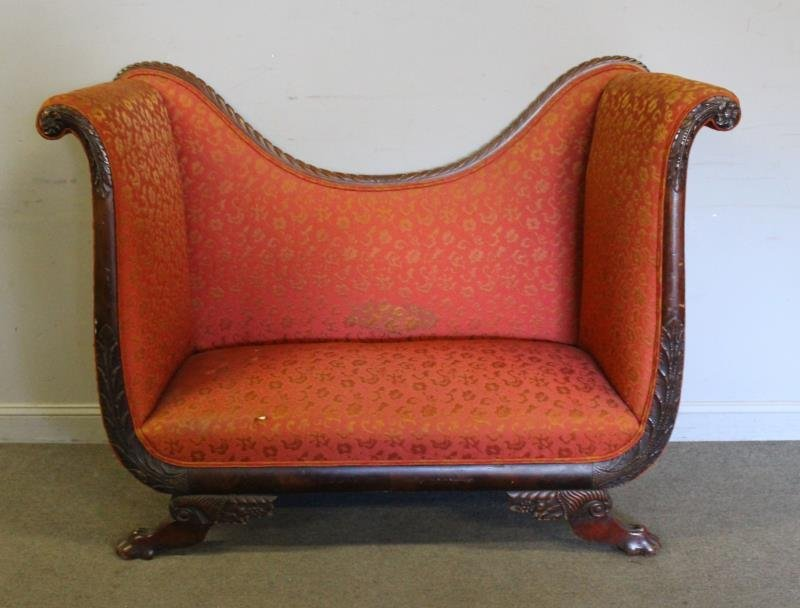 Antique High Back Mahogany Scroll Arm Settee.
