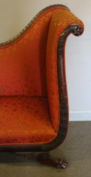 Antique High Back Mahogany Scroll Arm Settee. - 3