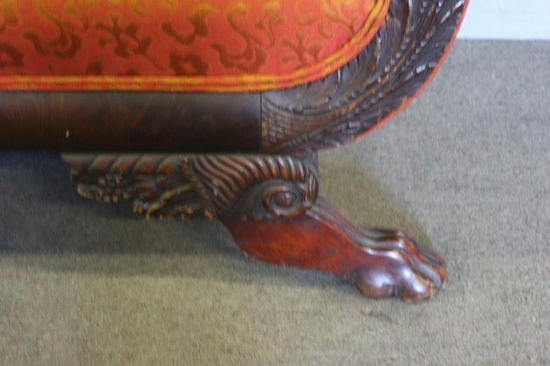 Antique High Back Mahogany Scroll Arm Settee. - 5