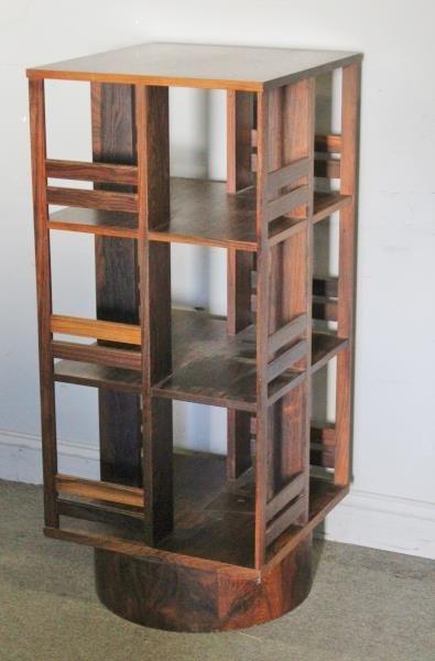 Midcentury Swedish Rosewood Swivel Bookcase.