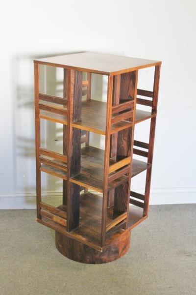 Midcentury Swedish Rosewood Swivel Bookcase. - 2