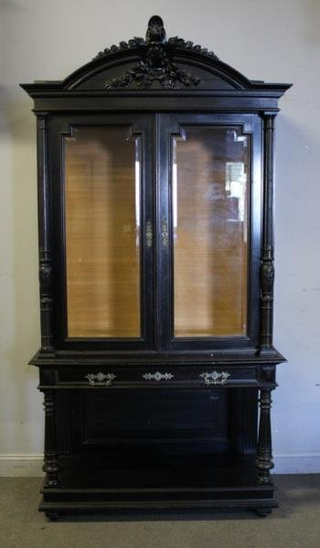 Victorian Ebonised & Finely Carved Cabinet .