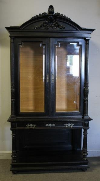 Victorian Ebonised & Finely Carved Cabinet . - 2