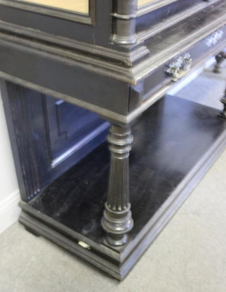 Victorian Ebonised & Finely Carved Cabinet . - 5