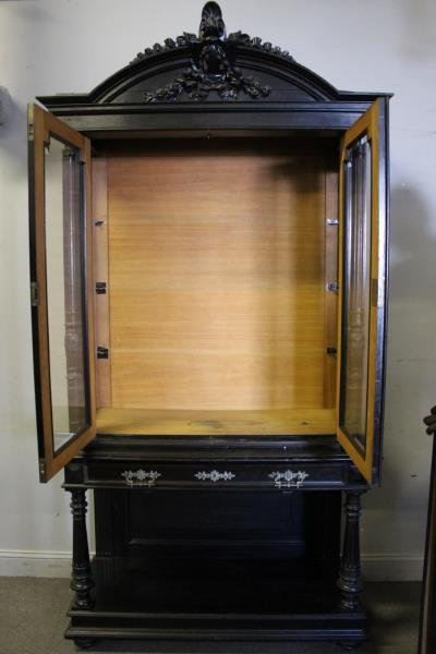 Victorian Ebonised & Finely Carved Cabinet . - 7