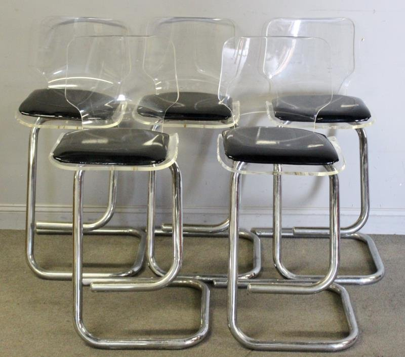 Set of 5 Midcentury Lucite and Chrome Stools.