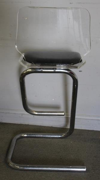 Set of 5 Midcentury Lucite and Chrome Stools. - 3