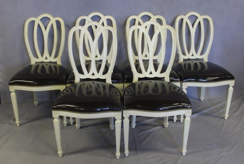 Set of 6 Brown Vinyl Upholstered Oval Back Chairs
