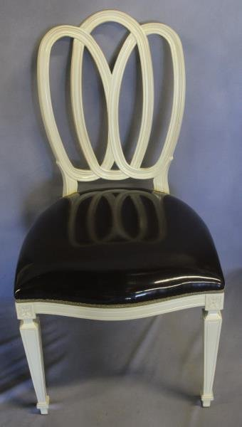Set of 6 Brown Vinyl Upholstered Oval Back Chairs - 2
