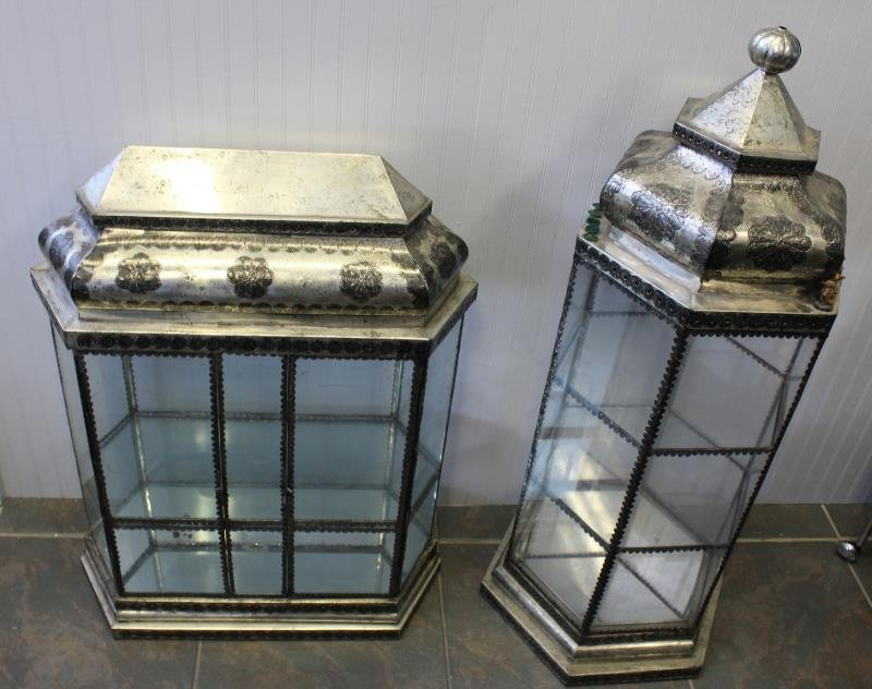 2 Antique Metal And Glass Anglo Indian Vitrines .