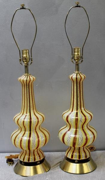 Pair of Dino Martens / Striped Murano Glass Lamps.