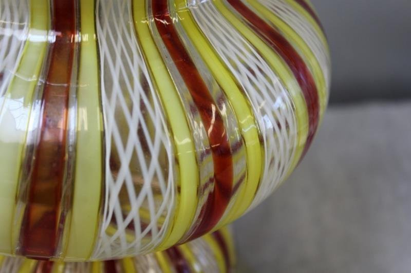 Pair of Dino Martens / Striped Murano Glass Lamps. - 3