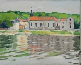 "MARQUET, Albert. Oil on Canvasboard. ""La Seine a"