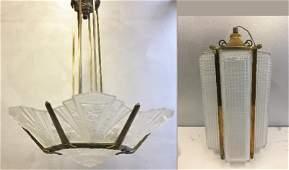 French Art Deco Style Brass Chandelier & Pendant.