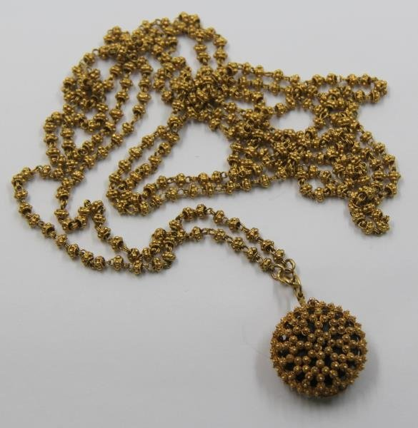 JEWELRY. Indian Gold Necklace with Pendant.