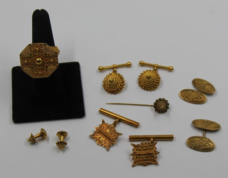JEWELRY. Asian Gold Jewelry Grouping.