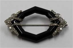 JEWELRY Art Deco Diamond and Onyx Brooch