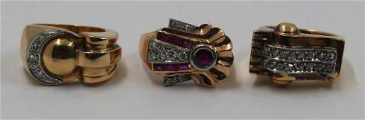 JEWELRY. Grouping of Retro 18kt Gold and Diamond