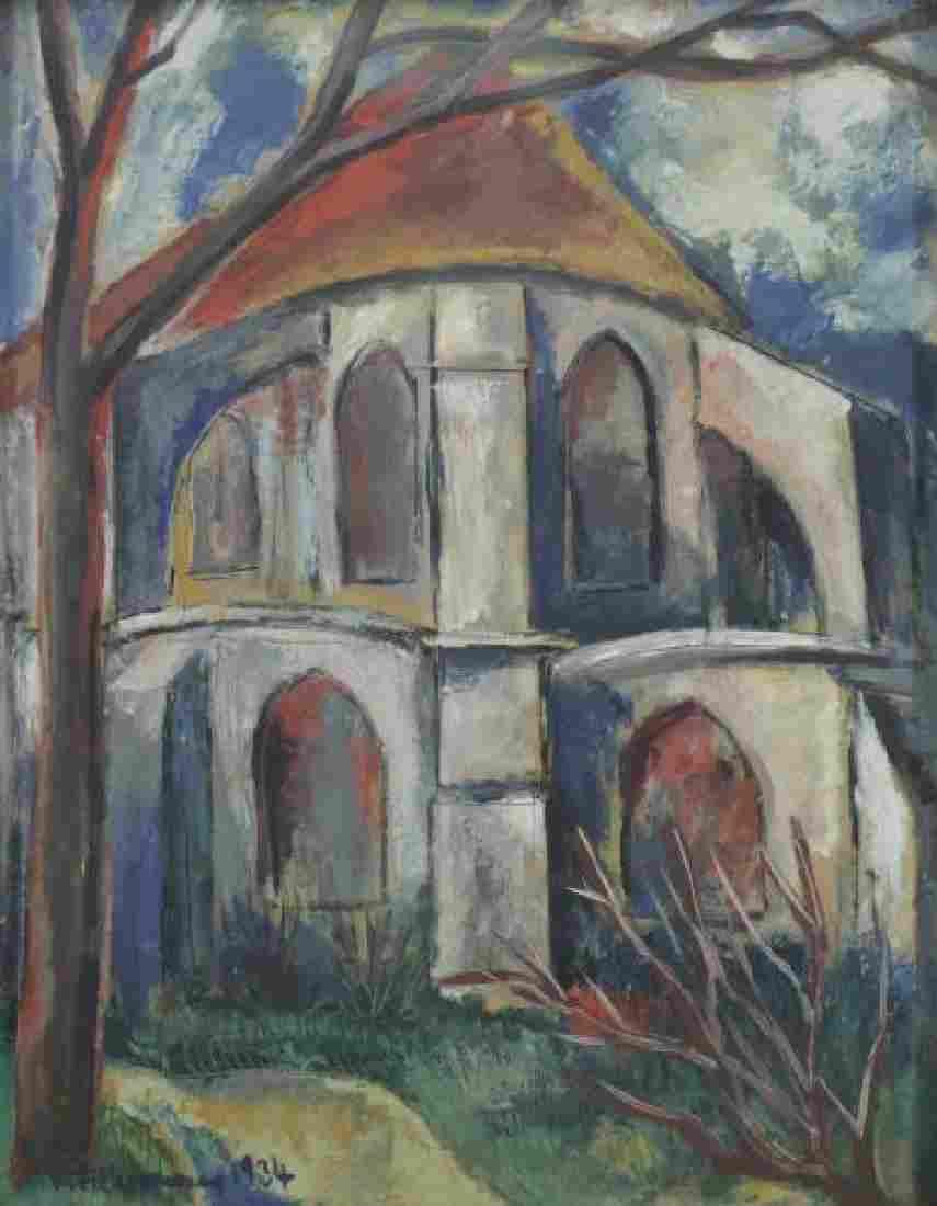 FUHRMANN, Rudolf. Oil on Board. Church, 1934.
