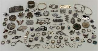 JEWELRY. Assorted Grouping of Silver Jewelry and