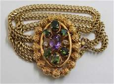 JEWELRY 14kt Gold Colored Gem and Diamond