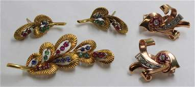 JEWELRY. Retro and Vintage Gold and Colored Gem