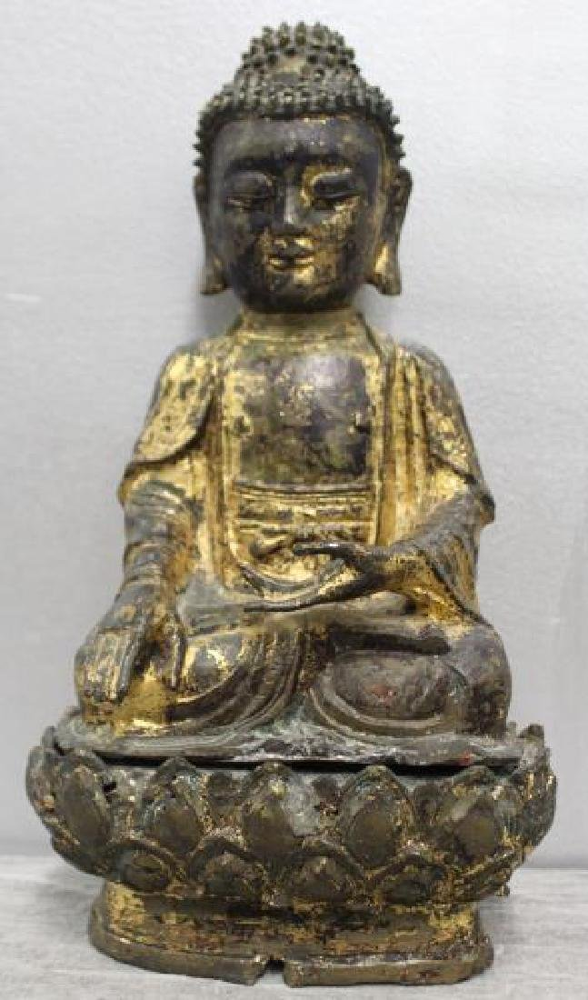 Antique Gilt Metal Buddha on Stand.