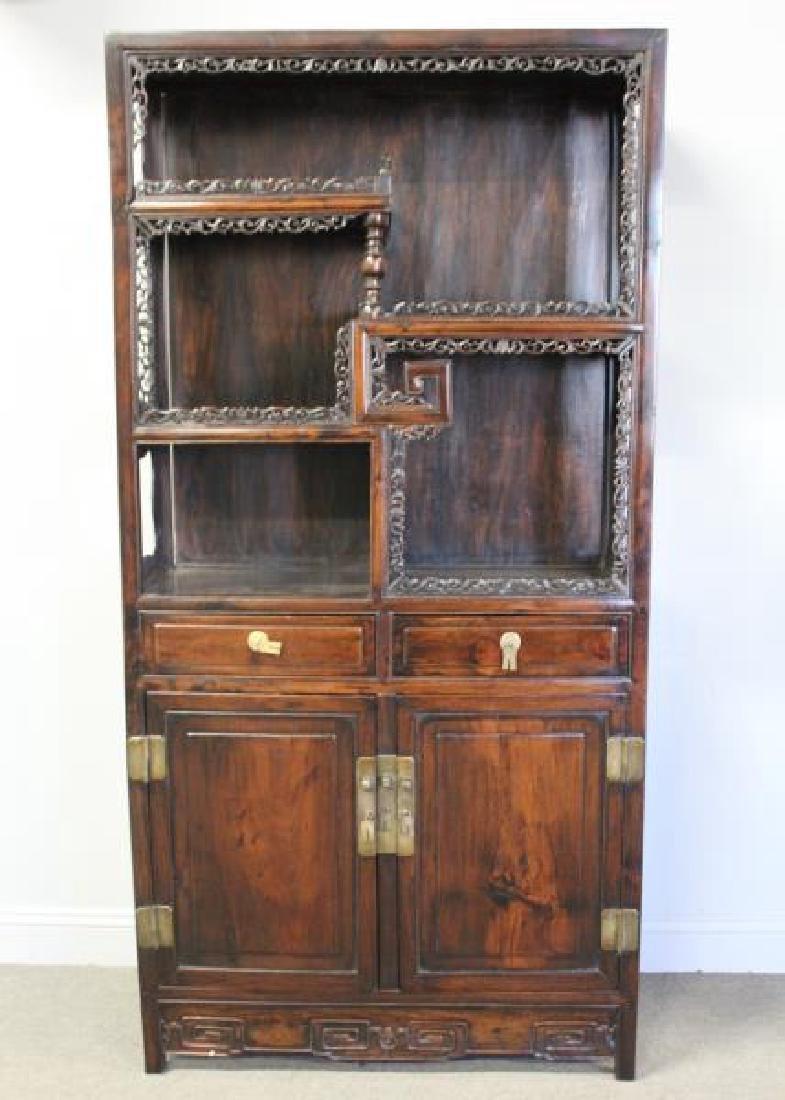 Antique Chinese hardwood Etagere Cabinet