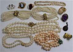 JEWELRY. Assorted Pearl and Gold Jewelry Grouping.