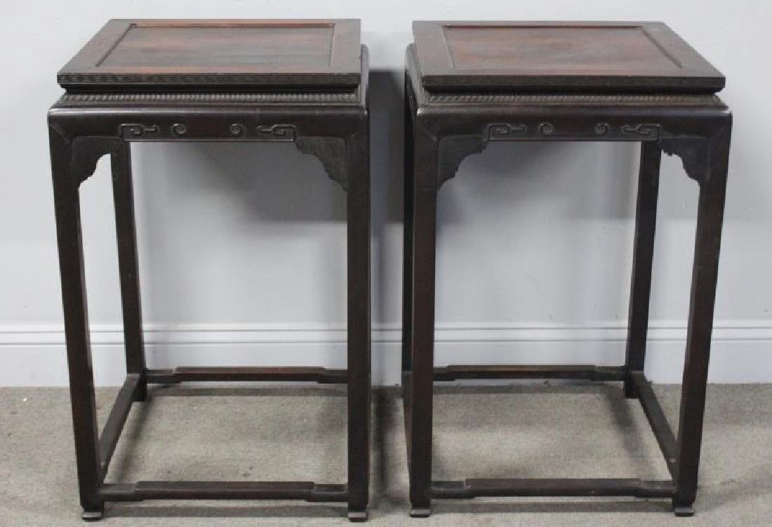 Fine Pair Of Antique Chinese Hardwood Tables .
