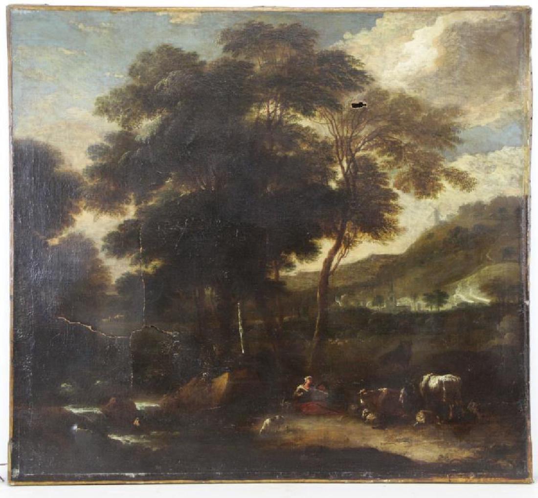 18th C. European Oil on Canvas. Figures & Animals