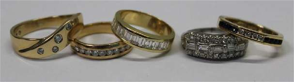 JEWELRY. Grouping of 5 Diamond Rings.