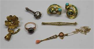 JEWELRY. Assorted Antique/Vintage Jewelry Grouping