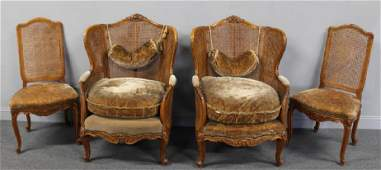 Pair of Louis XV Style Caned Bergeres with a Pair