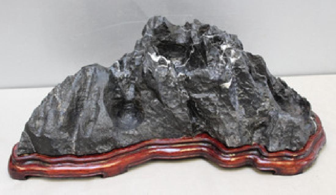 Antique Black Striated Marble On Stand