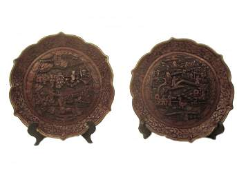 Pair of Cinnabar Plates, Qianlong Period